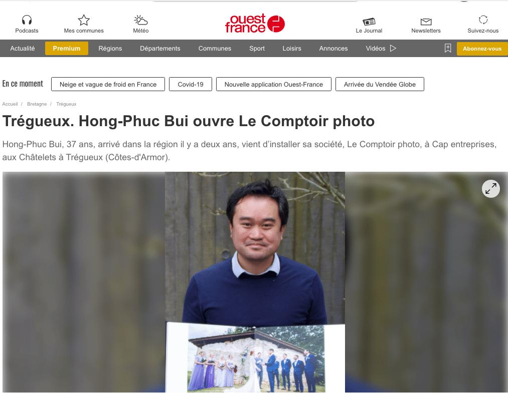 Publication Ouest France - Hong-Phuc BUI - Le Comptoir Photo - photographe professionnel bretagne - saint-brieuc-rennes-vannes-lorient-brest-quimper